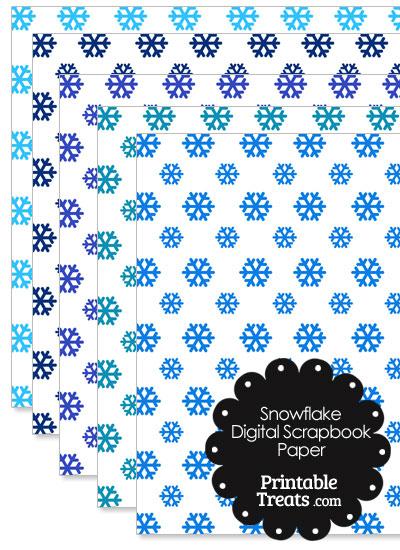 Blue Snowflake Digital Scrapbook Paper from PrintableTreats.com