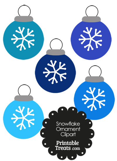 Blue Snowflake Ornament Clipart from PrintableTreats.com
