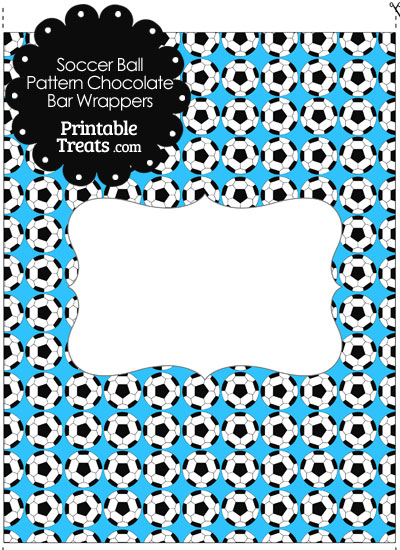 Blue Soccer Ball Pattern Chocolate Bar Wrappers from PrintableTreats.com
