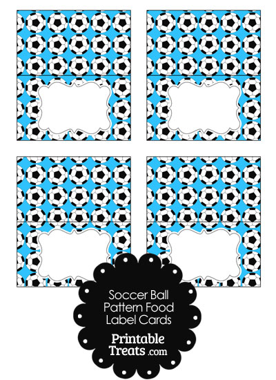 Blue Soccer Ball Pattern Food Labels from PrintableTreats.com
