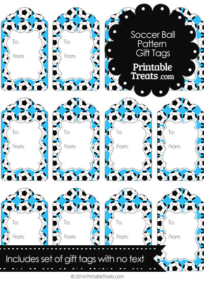 Blue Soccer Ball Pattern Gift Tags from PrintableTreats.com