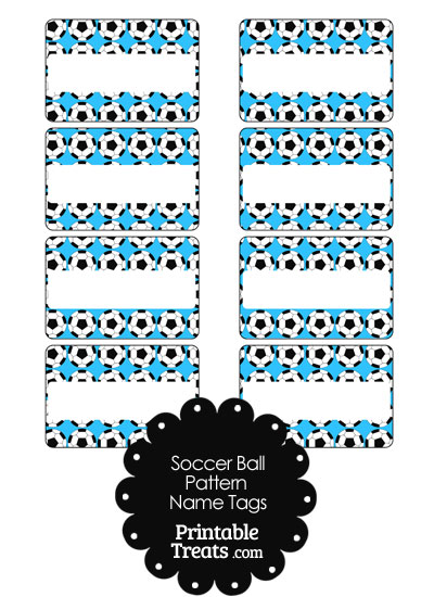 Blue Soccer Ball Pattern Name Tags from PrintableTreats.com