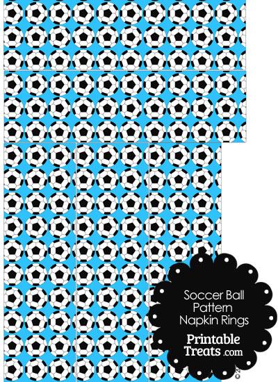 Blue Soccer Ball Pattern Napkin Rings from PrintableTreats.com