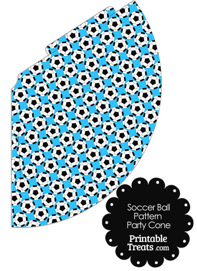 Blue Soccer Ball Pattern Party Cone from PrintableTreats.com