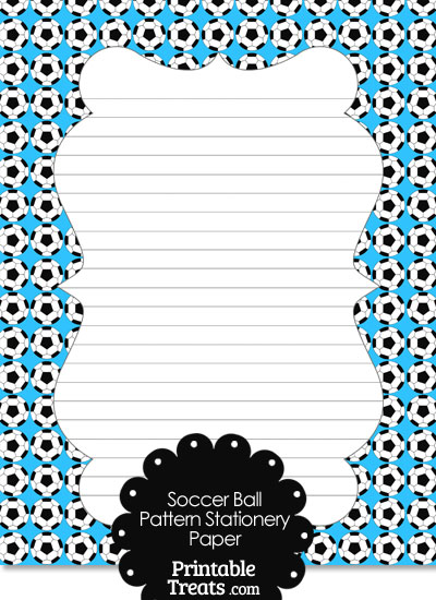 Blue Soccer Ball Pattern Stationery Paper from PrintableTreats.com