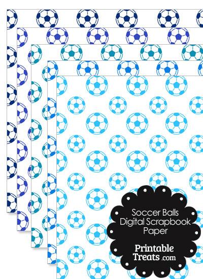 Blue Soccer Digital Scrapbook Paper from PrintableTreats.com