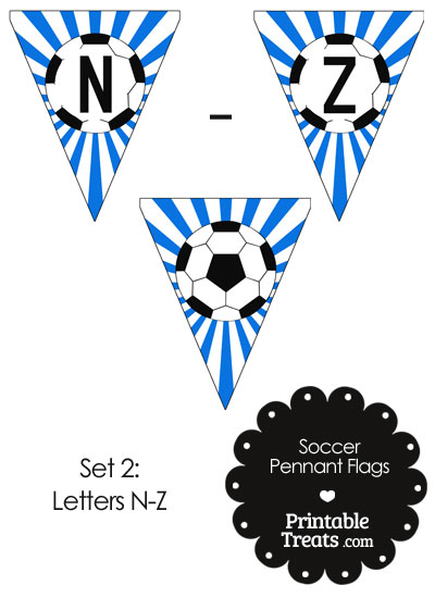 Blue Soccer Party Flag Letters N-Z from PrintableTreats.com