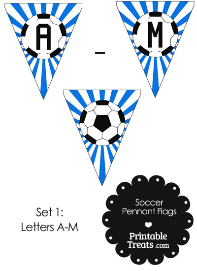 Blue Soccer Pennant Banner Flag Letters A-M from PrintableTreats.com