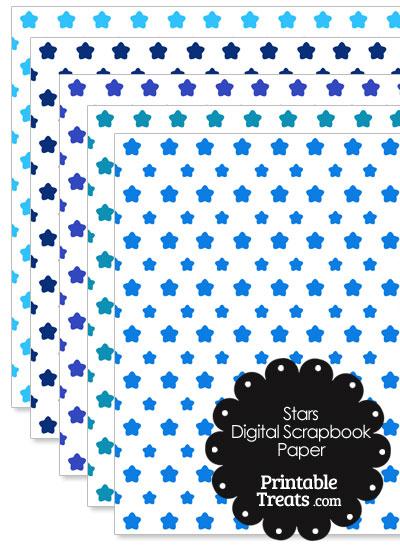 Blue Star Digital Scrapbook Paper from PrintableTreats.com