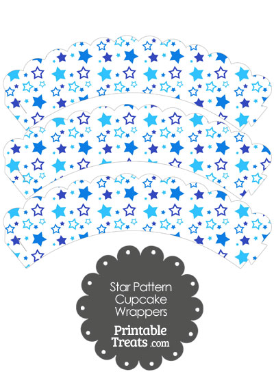 Blue Star Pattern Scalloped Cupcake Wrappers from PrintableTreats.com