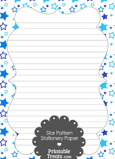 Blue Star Pattern Stationery Paper from PrintableTreats.com