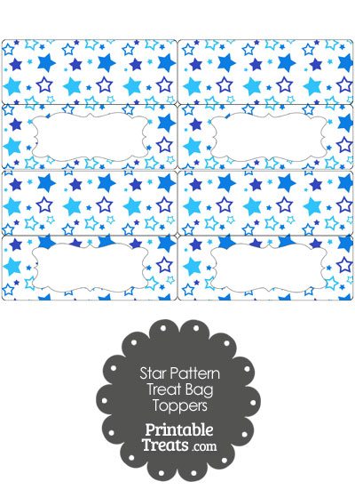 Blue Star Pattern Treat Bag Toppers from PrintableTreats.com
