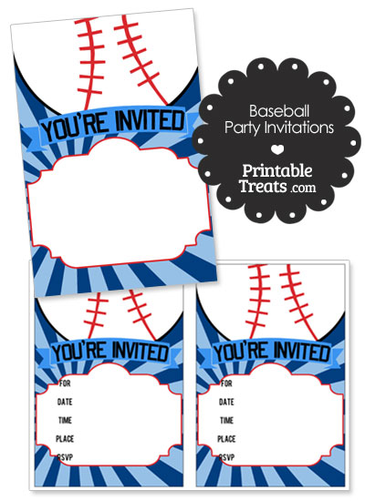 Blue Sunburst Baseball Party Invites from PrintableTreats.com