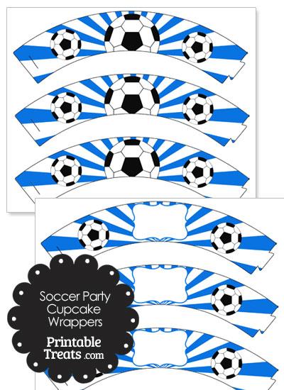 Blue Sunburst Soccer Cupcake Wrappers from PrintableTreats.com