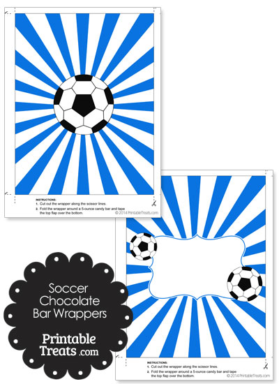 Blue Sunburst Soccer Party Candy Wrappers from PrintableTreats.com