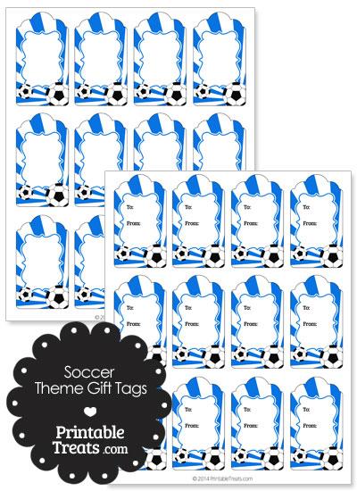 Blue Sunburst Soccer Paper Gift Tags from PrintableTreats.com