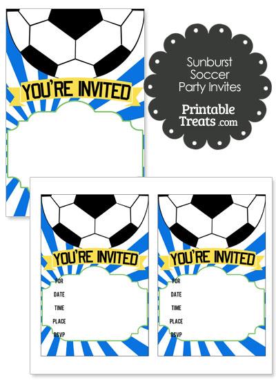 Blue Sunburst Soccer Party Invites from PrintableTreats.com