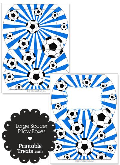 Blue Sunburst Soccer Party Large Pillow Boxes from PrintableTreats.com