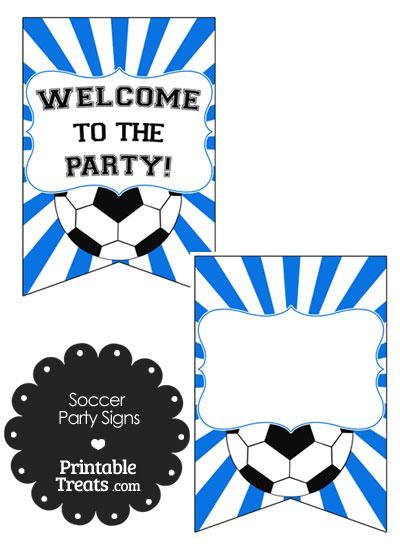Blue Sunburst Soccer Party Signs from PrintableTreats.com