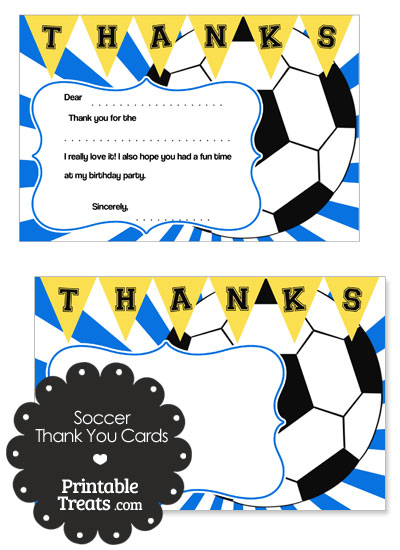 Blue Sunburst Soccer Thank You Cards from PrintableTreats.com