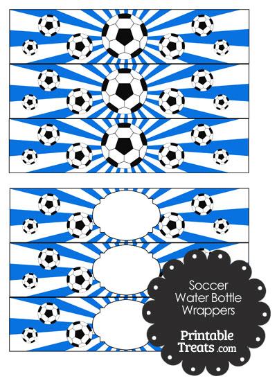 Blue Sunburst Soccer Water Bottle Wrappers from PrintableTreats.com