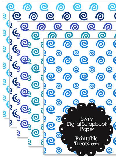 Blue Swirls Digital Scrapbook Paper from PrintableTreats.com