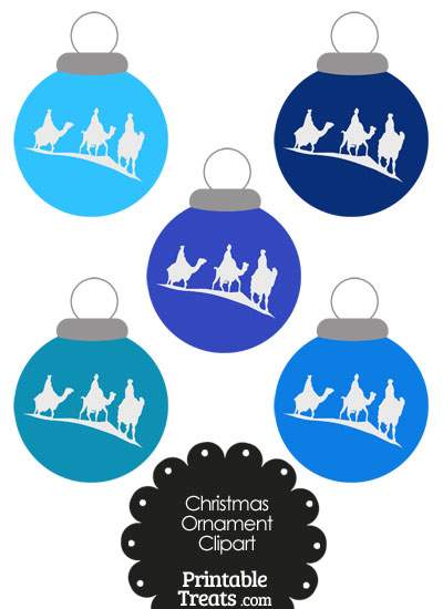 Blue Three Wise Men Christmas Ornament Clipart from PrintableTreats.com