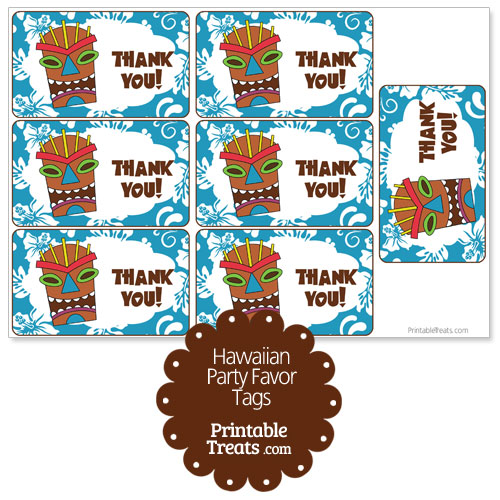 blue tiki mask party favor tags