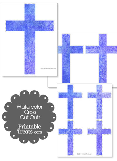 Blue Watercolor Cross Cut Outs from PrintableTreats.com