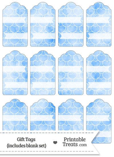 Blue Watercolor Hearts Gift Tags from PrintableTreats.com