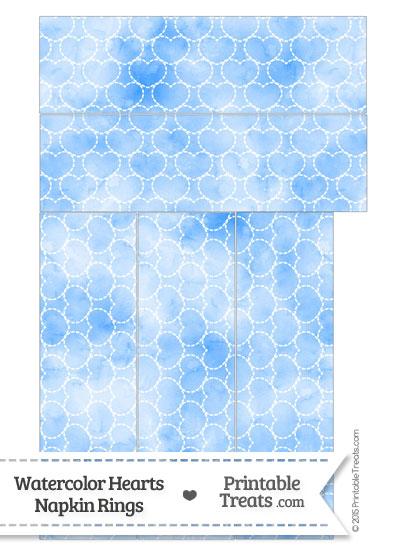 Blue Watercolor Hearts Napkin Rings from PrintableTreats.com