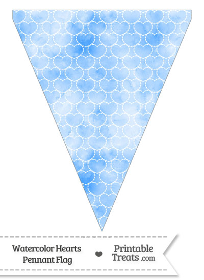 Blue Watercolor Hearts Pennant Banner Flag from PrintableTreats.com