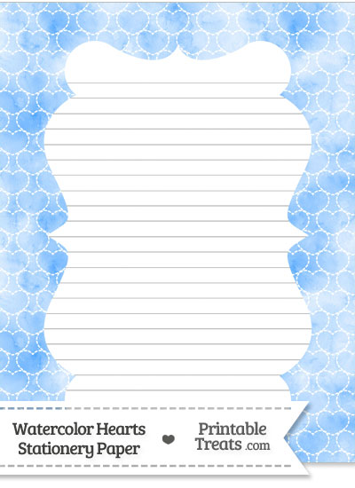 Blue Watercolor Hearts Stationery Paper from PrintableTreats.com
