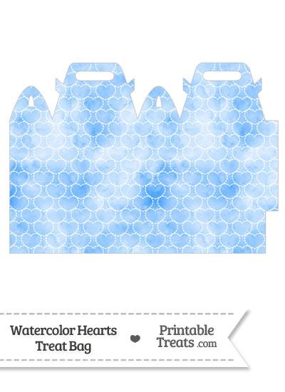 Blue Watercolor Hearts Treat Bag from PrintableTreats.com