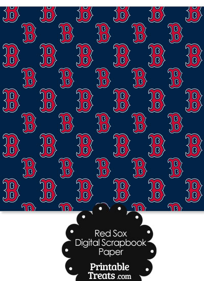 Boston Red Sox Baseball Digital Paper from PrintableTreats.com