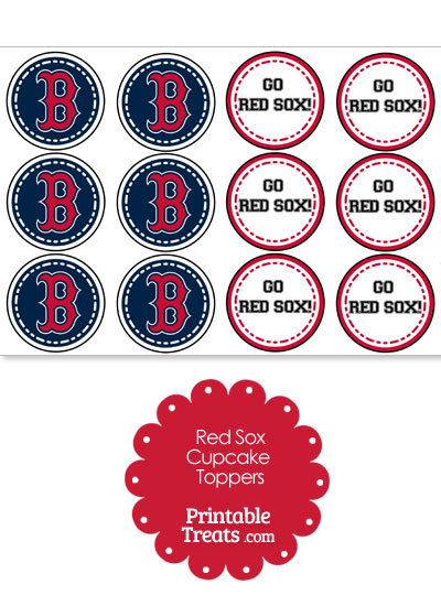 Boston Red Sox Cupcake Toppers from PrintableTreats.com
