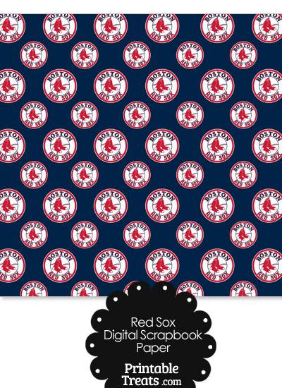 Boston Red Sox Logo Digital Paper from PrintableTreats.com