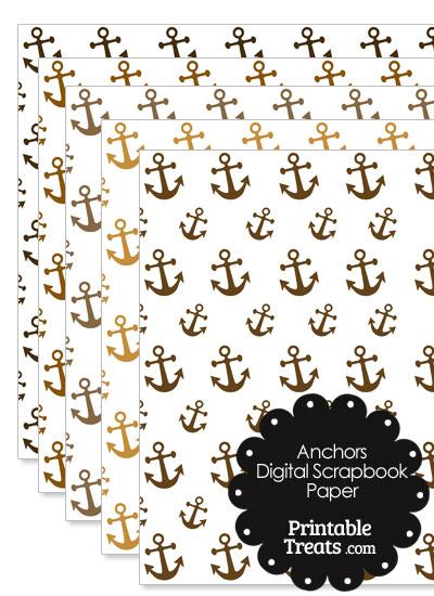 Brown Anchor Digital Scrapbook Paper from PrintableTreats.com