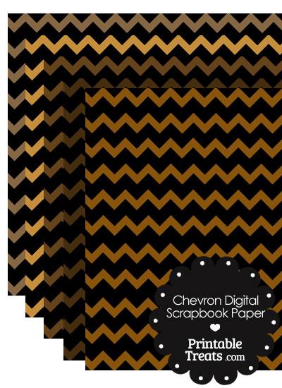 Brown and Black Chevron Digital Scrapbook Paper from PrintableTreats.com