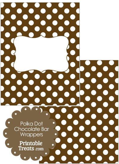 Brown and White Polka Dot Chocolate Bar Wrappers from PrintableTreats.com