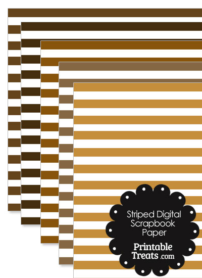 Brown and White Striped Digital Scrapbook Paper from PrintableTreats.com