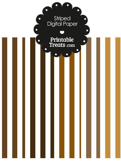 Brown and White Vertical Striped Digital Scrapbook Paper from PrintableTreats.com