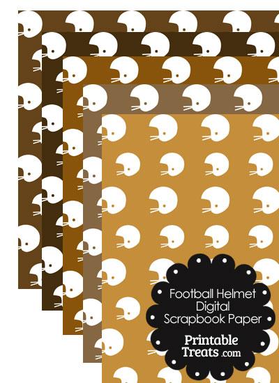 Brown Background Football Helmet Digital Scrapbook Paper from PrintableTreats.com