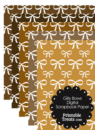 Brown Background Girly Bow Digital Scrapbook Paper from PrintableTreats.com