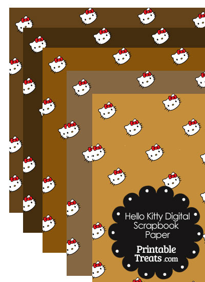 Brown Background Hello Kitty Digital Scrapbook Paper from PrintableTreats.com