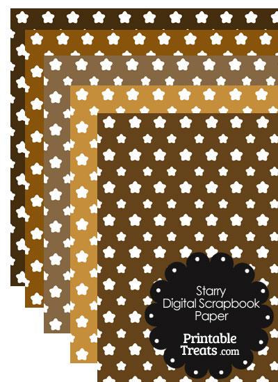 Brown Background Star Digital Scrapbook Paper from PrintableTreats.com