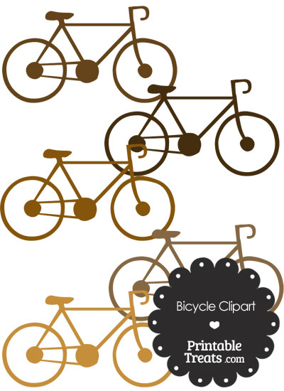 Brown Bicycle Clipart from PrintableTreats.com