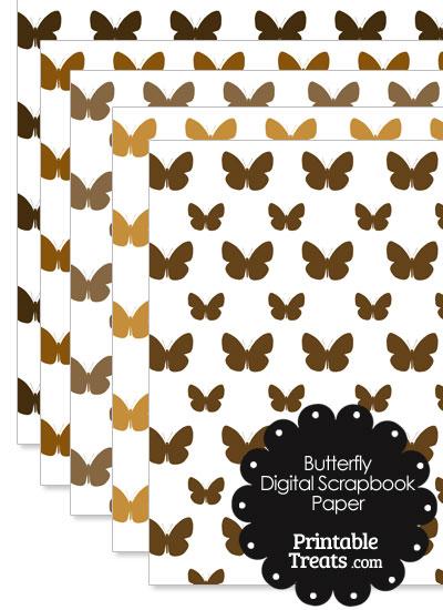 Brown Butterfly Digital Scrapbook Paper from PrintableTreats.com