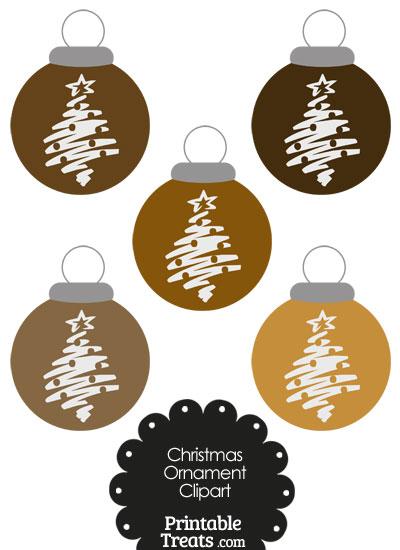Brown Christmas Tree Christmas Ornament Clipart from PrintableTreats.com