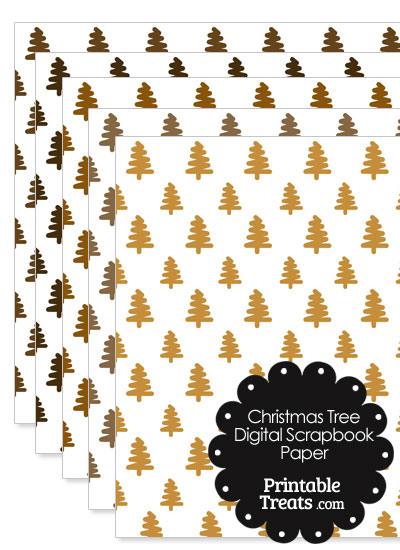 Brown Christmas Tree Digital Scrapbook Paper from PrintableTreats.com